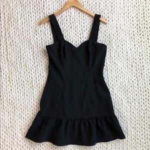 Parker Black Ruffle Hem Little Black Dress